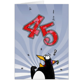 45th Birthday - Penguin Surprise Card