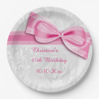 45th Birthday Pink Damask and Faux Bow 9 Inch Paper Plate