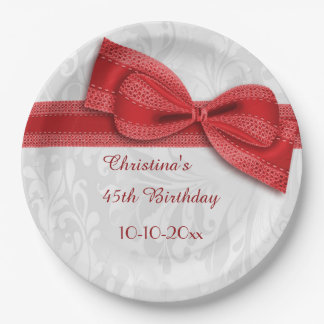 45th Birthday Red Damask and Faux Bow 9 Inch Paper Plate