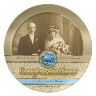 45th Sapphire Wedding Anniversary Gem Damask Photo Plates