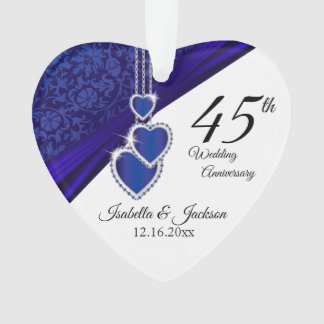 45th Sapphire Wedding Anniversary Keepsake Design Ornament