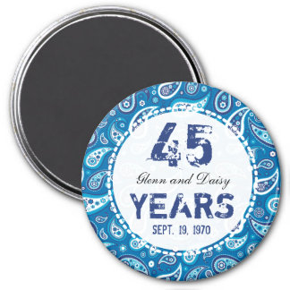 45th Sapphire Wedding Anniversary Paisley Pattern 7.5 Cm Round Magnet