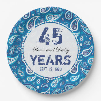 45th Sapphire Wedding Anniversary Paisley Pattern 9 Inch Paper Plate
