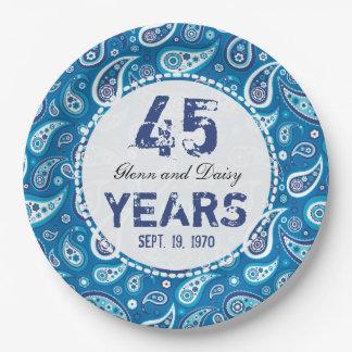 45th Sapphire Wedding Anniversary Paisley Pattern Paper Plate