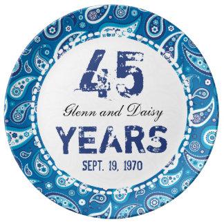 45th Sapphire Wedding Anniversary Paisley Pattern Plate