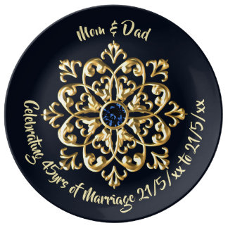 45th Sapphire Wedding Anniversary Parents Plate