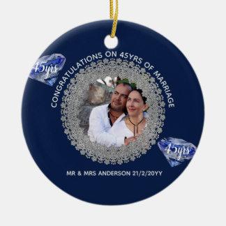45th Wedding Anniversary - ADD PHOTO Sapphire Blue Christmas Ornament