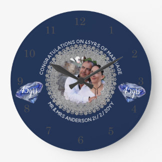 45th Wedding Anniversary - ADD PHOTO Sapphire Blue Large Clock