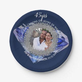 45th Wedding Anniversary - ADD PHOTO Sapphire Blue Paper Plate