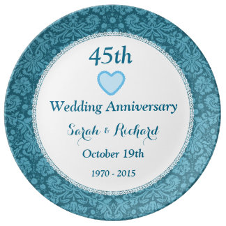 45th Wedding Anniversary Blue Damask and Lace I05C Porcelain Plates