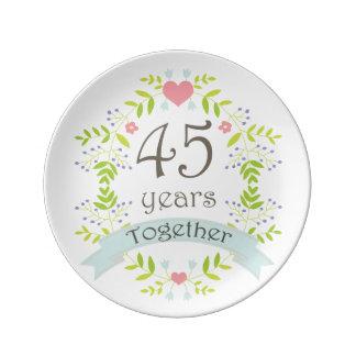 45th Wedding Anniversary Keepsake Gift Porcelain Plates