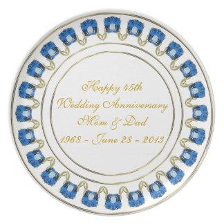 45th Wedding Anniversary Plate