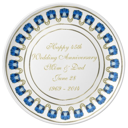 45th Wedding Anniversary Porcelain Plate