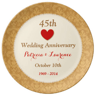 45th Wedding Anniversary Red and Gold Heart V01 Porcelain Plate