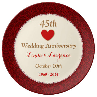45th Wedding Anniversary Red and Gold Heart V02 Porcelain Plates