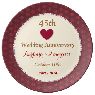 45th Wedding Anniversary Red and Gold Heart V03 Porcelain Plates