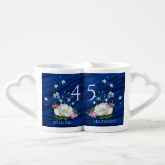 45th Wedding Anniversary Sapphire Custom Coffee Mug Set