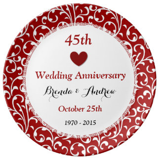 45th Wedding Anniversary Sapphire Red Damask A45A Plate