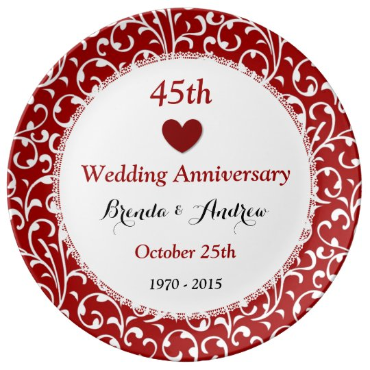 45th Wedding Anniversary Sapphire Red Damask A45A Porcelain