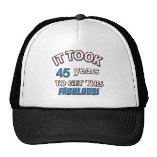 45th year birthday designs cap
