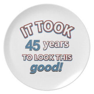 45th year birthday designs party plates