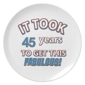 45th year birthday designs dinner plates