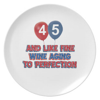 45th year old designs party plate