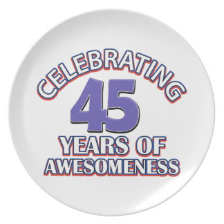 45th year old designs party plates