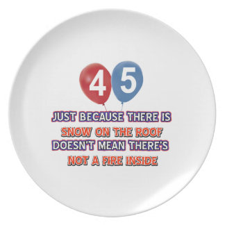 45th year old snow on the roof birthday designs plate