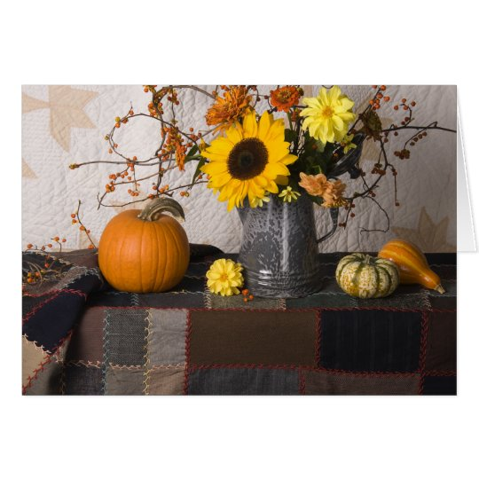 4684 Autumn Still Life with Quilts Greeting Card