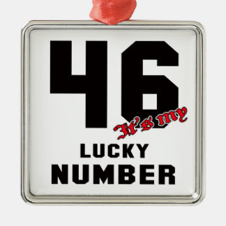 46 It's my lucky number Silver-Colored Square Decoration