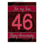 46th anniversary card with roses and leaves