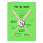 46th birthday baseball jokes card