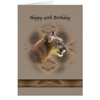 46th Birthday Card with Cougar