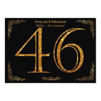 46th Birthday party,Gatsby styl,black gold glitter 13 Cm X 18 Cm Invitation Card