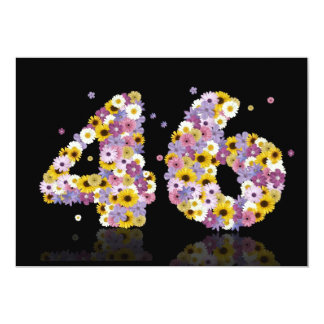 """46th Birthday party, with flowered letters 5"""" X 7"""" Invitation Card"""