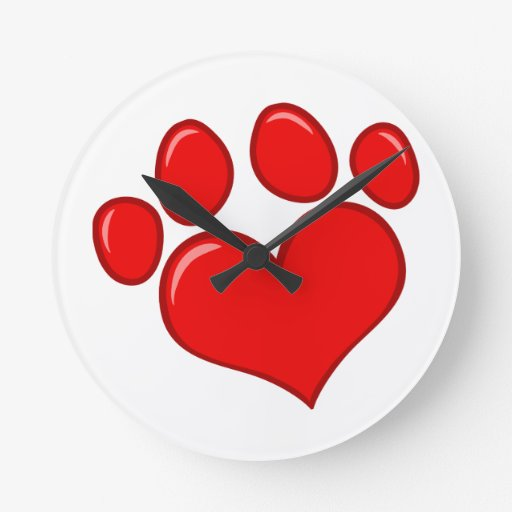 4782 RED HEART PAWS CAUSES ANIMALS LOVE CARING MOT WALLCLOCK