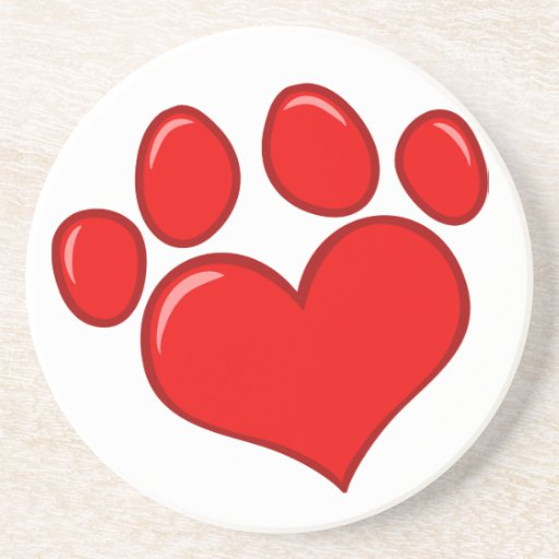 4782 RED HEART PAWS CAUSES ANIMALS LOVE CARING MOT COASTER