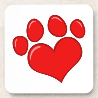 4782 RED HEART PAWS CAUSES ANIMALS LOVE CARING MOT DRINK COASTERS