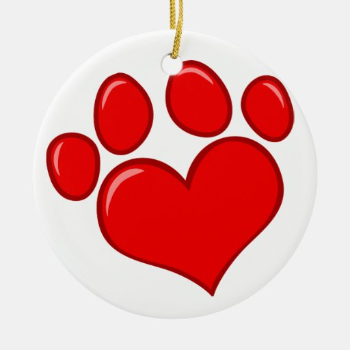 4782 RED HEART PAWS CAUSES ANIMALS LOVE CARING MOT ORNAMENTS