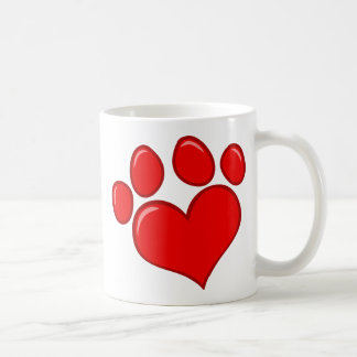 4782 RED HEART PAWS CAUSES ANIMALS LOVE CARING MOT COFFEE MUGS