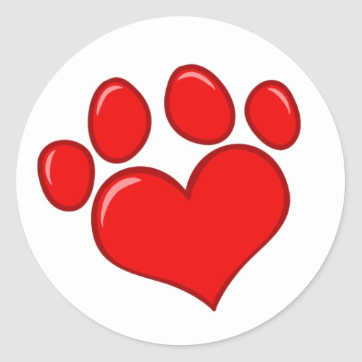 4782 RED HEART PAWS CAUSES ANIMALS LOVE CARING MOT STICKERS