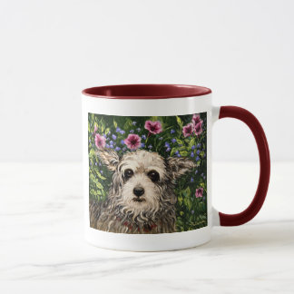 4796b Dog & Petunias Folk Art Mug