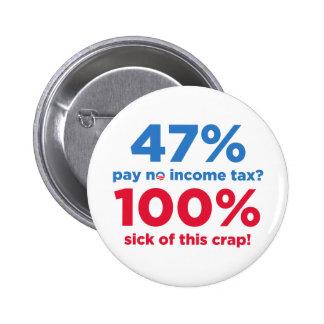 47% Pay No Taxes? 6 Cm Round Badge