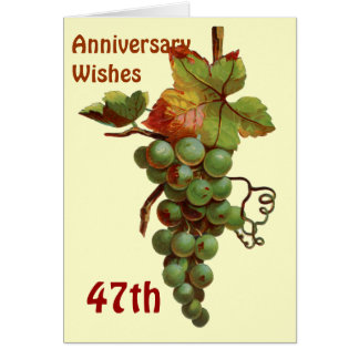 47th Anniversary wishes, customiseable Card
