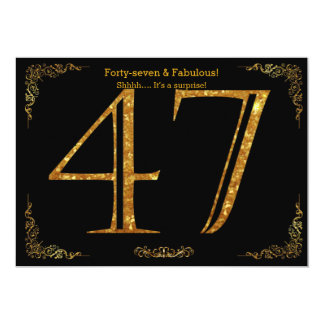 47th Birthday party,Gatsby styl,black gold glitter 13 Cm X 18 Cm Invitation Card