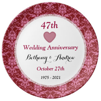 47th Wedding Anniversary Ruby Red Damask W40G Porcelain Plate