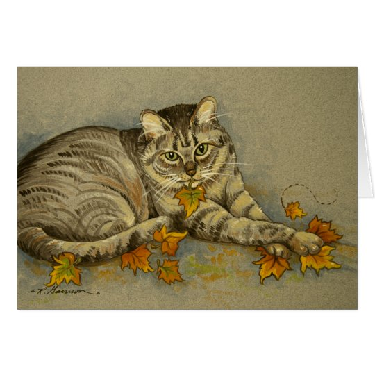 4872 Autumn Cat Birthday Card