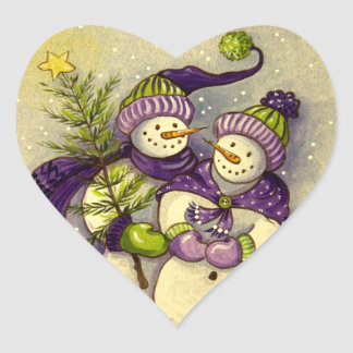 4882 Snowmen Christmas Heart Sticker