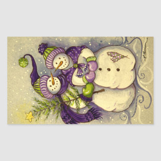 4882 Snowmen Christmas Rectangular Sticker